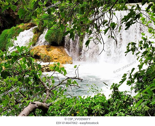 scenic view of waterfall in Kornati park, Dalmatia