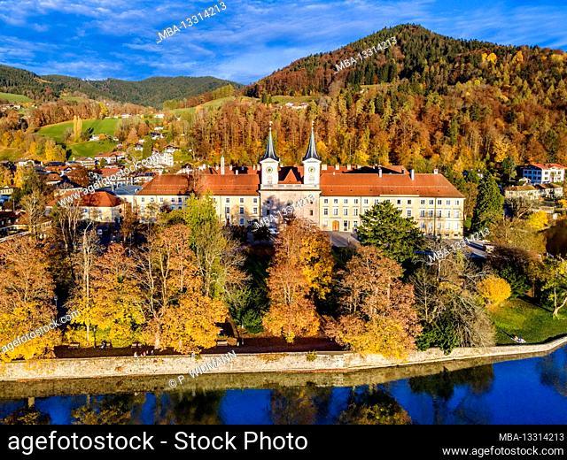 Aerial view, Tegernsee, place Tegernsee and Tegernsee Monastery, Upper Bavaria, Bavaria, Germany, Europe