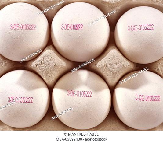 Eierschachtel, hen-eggs, stamps, knows producer-code, close-up Eierkarton food egg Frühstücksei, imprint, stand-form, Eierstempel, manufacturer-proof, trade