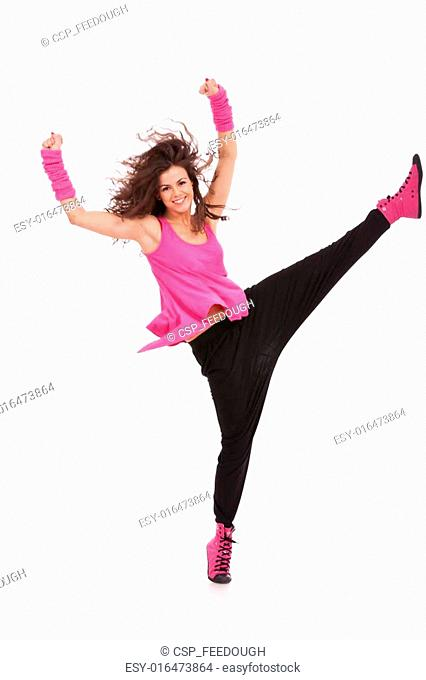 dancer holding her leg high
