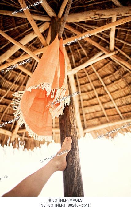 Tourists leg touching palapa