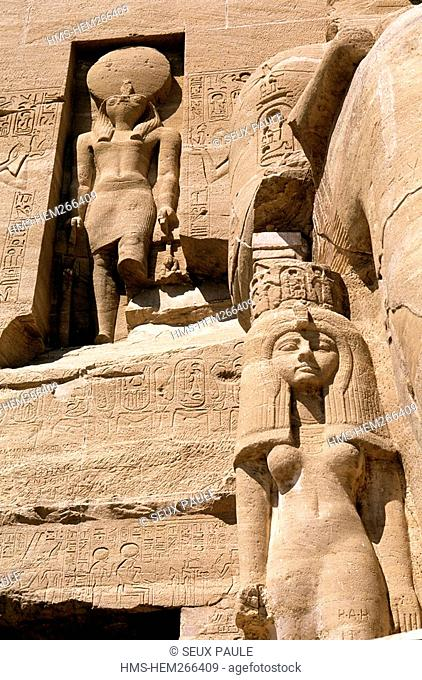 Egypt, Upper Egypt, Nubia, Abu Simbel, site listed as World Heritage by UNESCO, Ramses II Temple on the edge of Lake Nasser, one of the daughters of Ramses II
