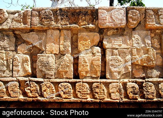 Stone platform of skulls in Chichen Itza, Yucatan, Mexico