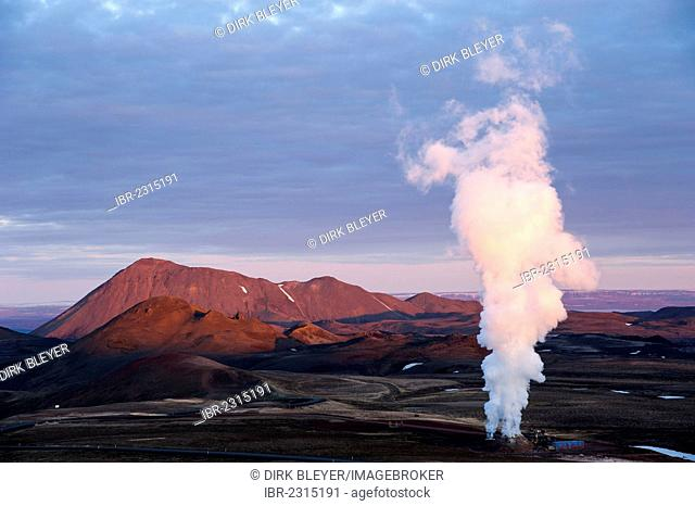 Well of a geothermal power station, Krafla area, Norðurland eystra, north-east region, Iceland, Europe