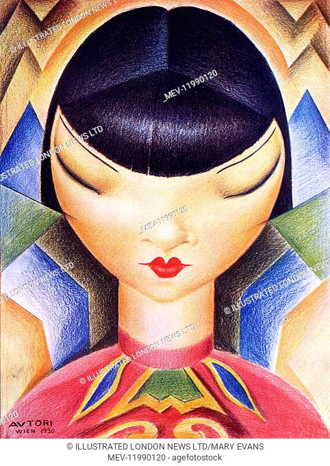 Superb caricature of Chinese-American actress, Anna May Wong (1905-1961)