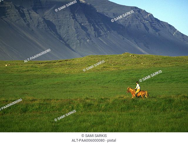 Iceland, horseback rider in front of mountain