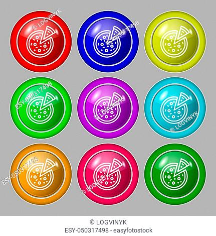 Pizza Icon sign. symbol on nine round colourful buttons. Vector illustration