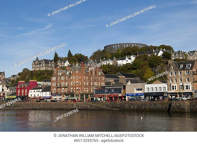 UK SCOTLAND Oban -- View of the seafront in Oban with McCaigs folly visible in the upper centre of the the image -- Picture by Jonathan Mitchell   ScotFoto