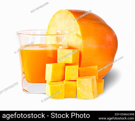Half Pumpkin And A Glass Of Pumpkin Juice Isolated On White Background