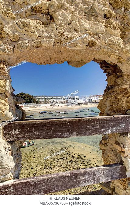 Castillo de Santa Catalina, view on Cadiz, Andalusia, Spain, Europe