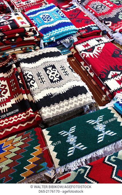 Albania, Kruja, town bazaar, carpets