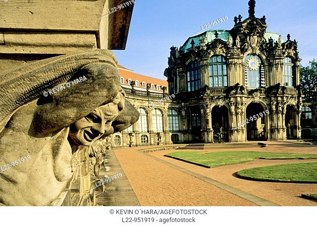 The Zwinger Palace is a major landmark of German baroque architecture, Dresden city, Saxony, Germany