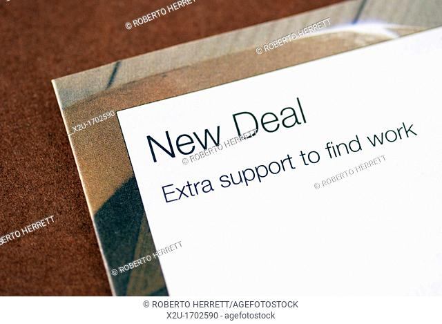 UK Government leaflet on the New Deal scheme to help people find work