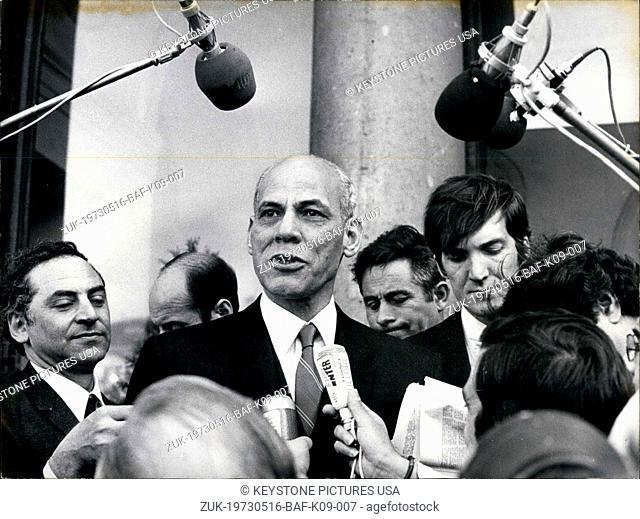 May 16, 1973 - Hafez Ismail Leaving the Elysee Palace (Credit Image: © Keystone Press Agency/Keystone USA via ZUMAPRESS.com)