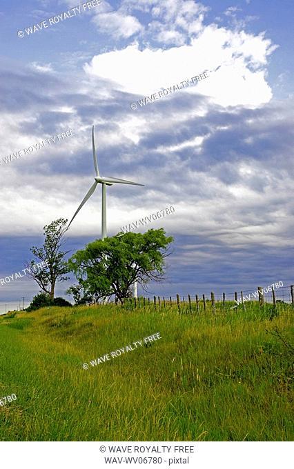 Wind turbine in country setting, Tiverton, Bruce Peninsula, Ontario