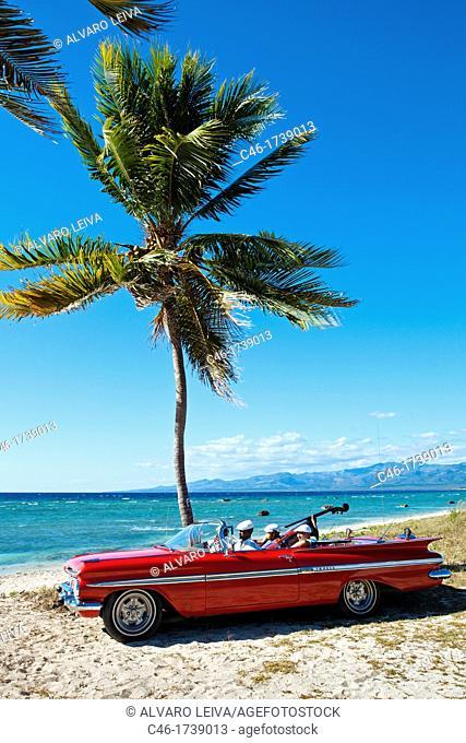 Ancon beach, Classic car and music band , Trinidad city, Sancti Spiritus Province, Cuba