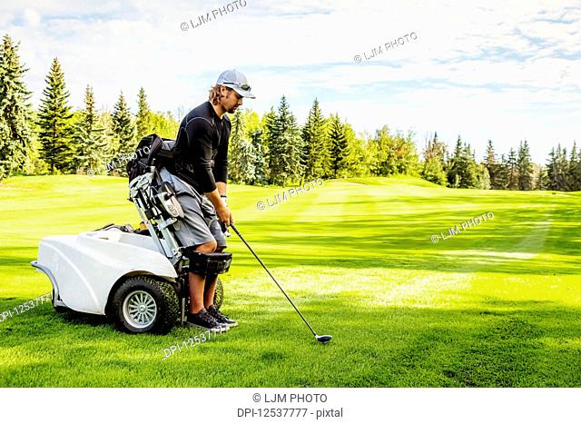 A physically disabled golfer using a specialized wheelchair lines up his driver with the ball on the golf green; Edmonton, Alberta, Canada