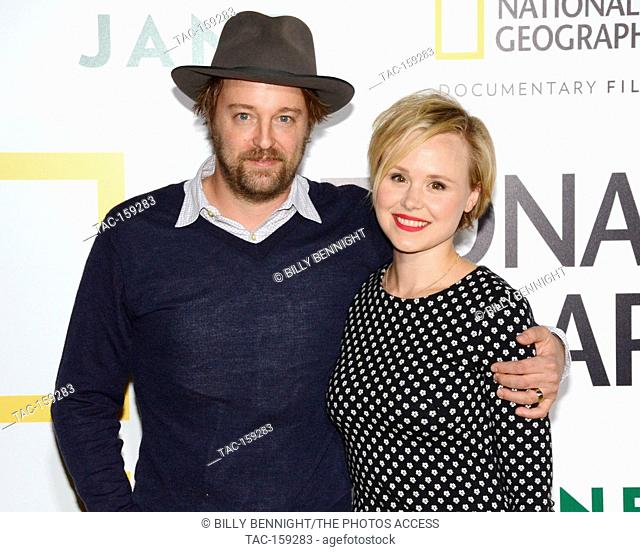 """Joshua Leonard and Actress Alison Pill arrives at the Los Angeles Premiere of National Geographic Documentary Films' """"""""Jane"""""""" at the Hollywood Bowl in Hollywood"""