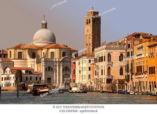 Palaces facades on Canal Grande Venice, Italy