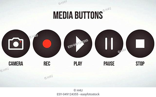 Set of round black camera media buttons. Vector illustration isolated on modern background
