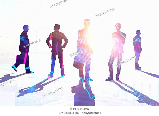 Teamwork, meeting and job concept. Businesspeople crowd silhouettes on light city office background. Double exposure