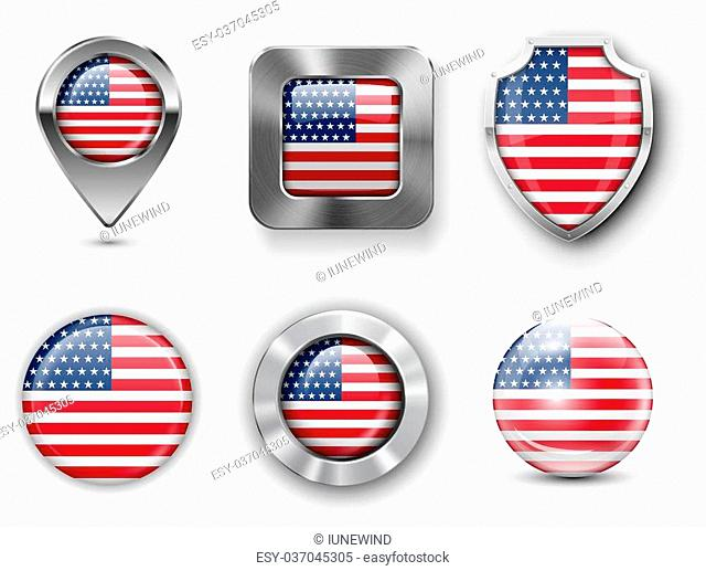 USA Metal and Glass Flag Badges, Buttons, Map marker pin and Shields. Vector illustrations