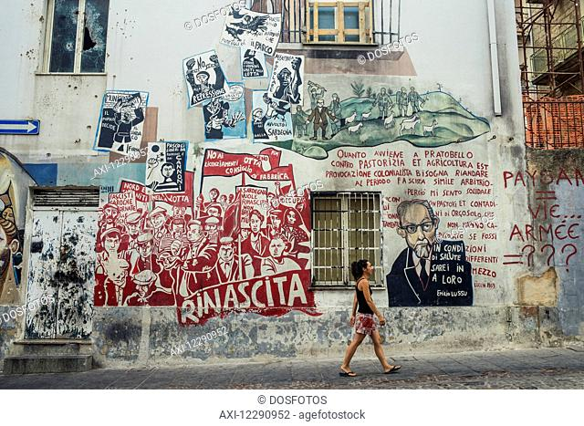 Political paintings known as murales; Orgosolo, Sardinia, Italy