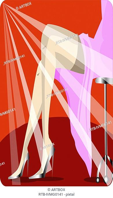 Light streaks falling on a woman's legs