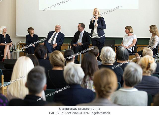 Manuela Schwesig, Prime Minister of Mecklenburg-Western Pomerania (SPD, 3rd r), speaks during a discussion round at the Leibniz Institute for Baltic Sea...