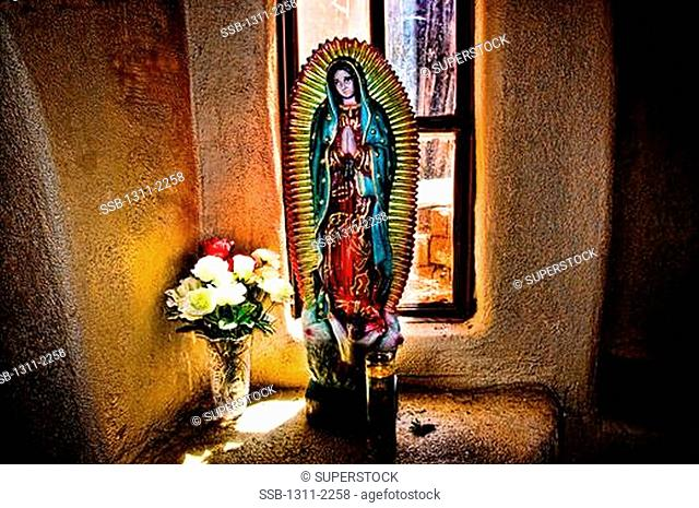 Virgin Mary paintings in a chapel, Our Lady Of Guadalupe Chapel, Old Town, Albuquerque, New Mexico, USA