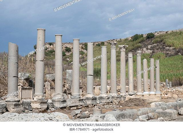 Ancient colonnaded street, Perga, a large site of ancient ruins, Antalya, Turkish Riviera, Turkey, Asia