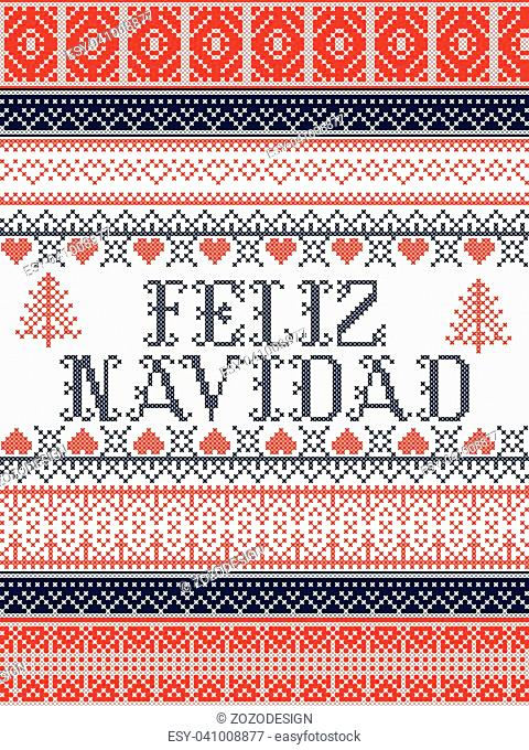 Feliz Navidad Nordic style vector seamless Christmas patterns inspired by Scandinavian Christmas, festive winter in cross stitch with heart, snowflake, star