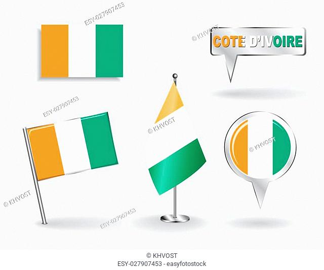 Set of Cote d'Ivoire pin, icon and map pointer flags. Vector illustration