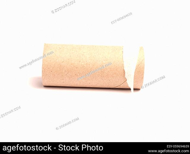 Blank roll of toilet paper on a white studio background