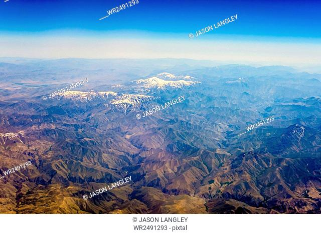 Aerial view of Kashmir mountains, near the border of Pakistan and Afghanistan, Asia