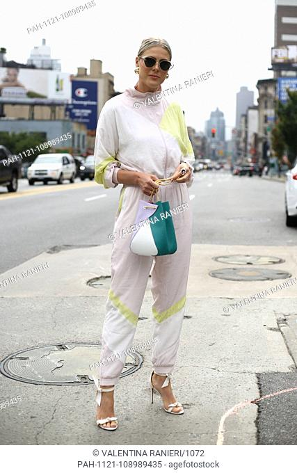 Blogger Sofie Valkiers posing on the street during New York Fashion Week - Sept 11, 2018 - Photo: Runway Manhattan ***For Editorial Use Only?***   usage...
