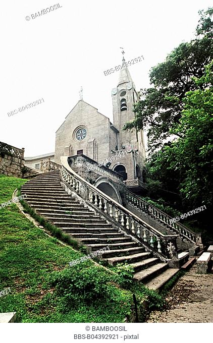 Stairway leading to Bishop mountain church, Macao special administration region of People's Republic of China