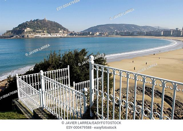 Santa Clara island and Concha Bay seen from Miramar Palace, Guipuzcoa, Basque Country, Spain