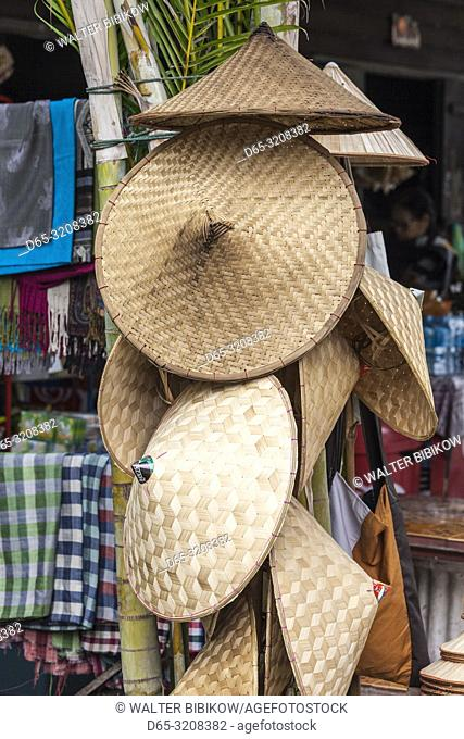 Laos, Luang Prabang, morning market, straw hats