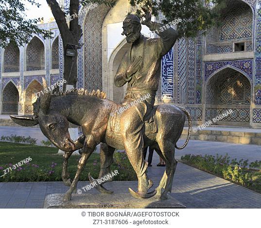 Uzbekistan; Bukhara; Hodja Nasruddin, statue,