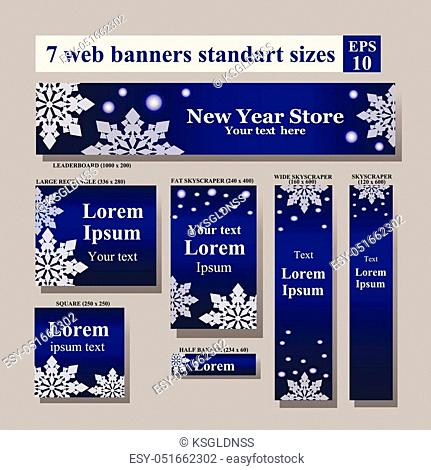set of New Year Web banners standart sizes. Vector Web banners set: horizontal leaderboards, vertical skyscrapers, squares, buttons, etc