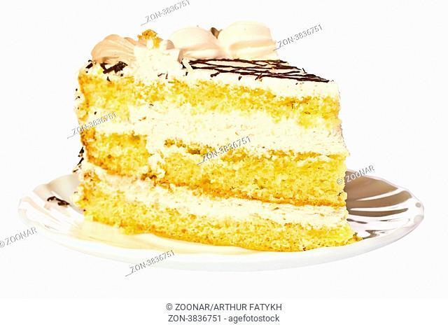 piece of birthday cake on white plate
