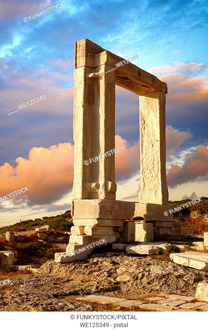 Doorway of the ruins of the Temple of Apollo. Naxos, Greek Cyclades Islands
