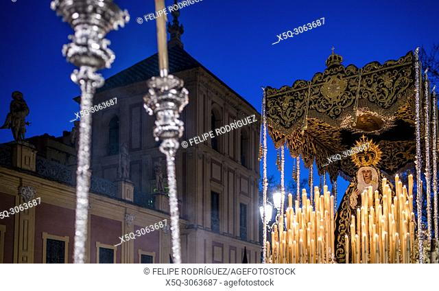 Virgen de los Dolores (Our Lady of Sorrow) in front of San Telmo Palace, Holy Tuesday, Seville, Spain