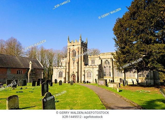 The church of St  Mary and St  Barlock in Norbury, Derbyshire, England