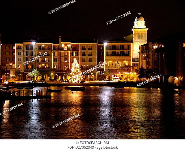 Orlando, FL, Florida, Portofino Bay Hotel, Universal Orlando Resort, evening