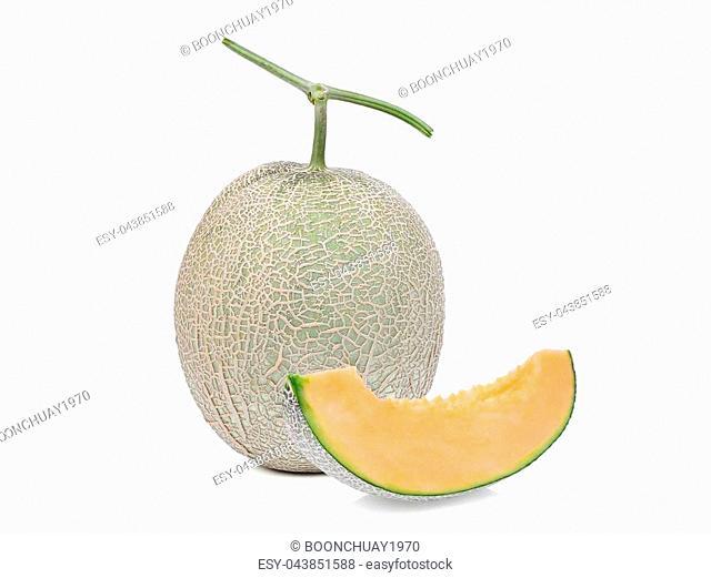 whole and sliced japanese melon, orange melon or cantaloupe melon isolated on white background