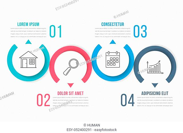 Process diagram template with circles, flowchart or workflow with four elements, steps or options, business infographics, vector eps10 illustration