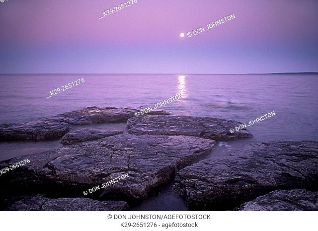 Moonrise over Mississagi Strait, Mississagi Lighthouse, Manitoulin Island, Ontario, Canada