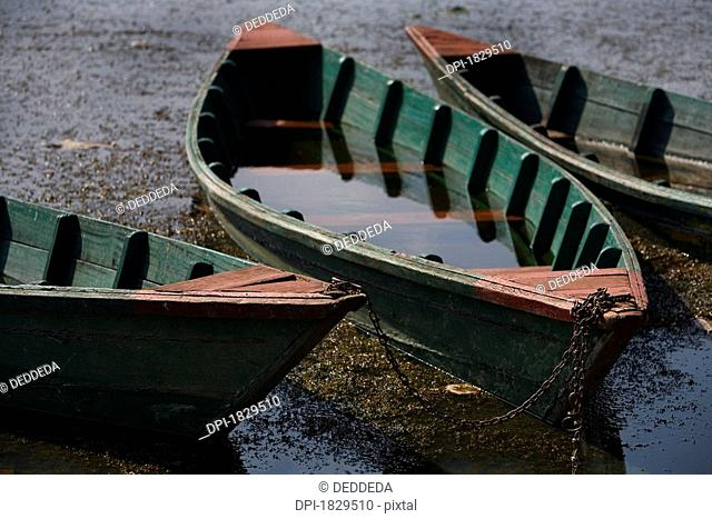 Water filled wooded boats on the shore